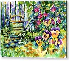 Picket Fence Pansies Acrylic Print