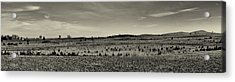 Picketts Charge From Seminary Ridge In Black And White Acrylic Print by Joshua House