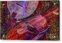 Pickin And A Grinnin Digital Banjo And Guitar Art By Steven Langston Acrylic Print by Steven Lebron Langston