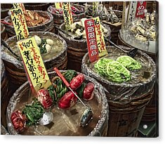 Pickled Vegetables Street Vendor - Kyoto Japan Acrylic Print by Daniel Hagerman