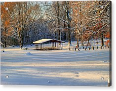 Picnic Shelter In Winter Acrylic Print