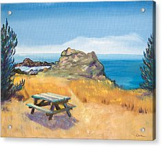Picnic Table And Ocean With Yellow Field Acrylic Print by Asha Carolyn Young