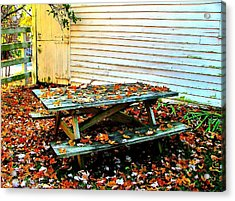 Picnic Table In Autumn Acrylic Print by Julie Dant