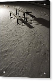 Picnic Table In The Untried Snow Acrylic Print by Guy Ricketts