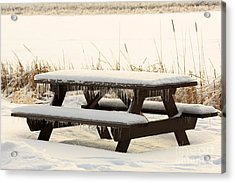 Picnic Table In Winter Acrylic Print