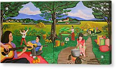 Picnic With The Farmers And Playing Melodies Under The Shade Of Trees Acrylic Print by Lorna Maza
