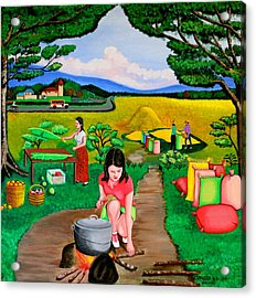 Picnic With The Farmers Acrylic Print by Lorna Maza
