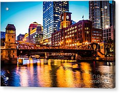 Picture Of Chicago At Night With Clark Street Bridge Acrylic Print