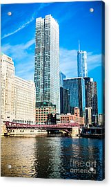 Picture Of Chicago River Skyline At Franklin Bridge Acrylic Print