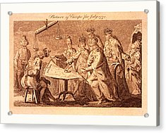 Picture Of Europe For July 1772, Catherine II Acrylic Print by Polish School