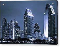 Picture Of San Diego Night Skyline Acrylic Print by Paul Velgos