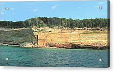 Pictured Rocks Sunlight And Shadows Panorama Acrylic Print