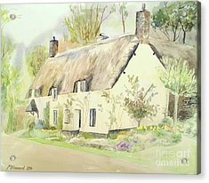Picturesque Dunster Cottage Acrylic Print by Martin Howard