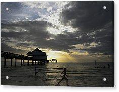 Pier 60 Sunset Acrylic Print by Lori  Burrows