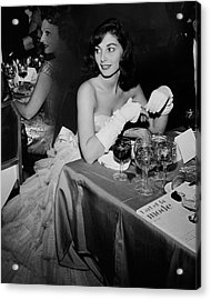 Pier Agnelli Wearing An Evening Gown At A Ball Acrylic Print by Nick De Morgoli