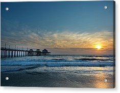 Pier And Sunset Acrylic Print by Roberto Lopez