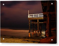 Pier At Night Acrylic Print by Carrie Warlaumont