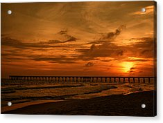 Pier At Sunset Acrylic Print by Sandy Keeton