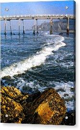 Pier Breakers Acrylic Print by Ron Regalado