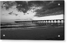 Pier In Black And White Acrylic Print by Sandy Keeton