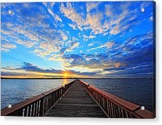 Pier Into The Sunset Acrylic Print