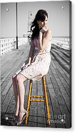 Pier Lady Pondering  Acrylic Print by Jorgo Photography - Wall Art Gallery