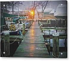 Pier Light - Oil Paint Effect Acrylic Print by Brian Wallace