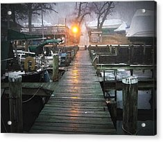 Pier Light - Watercolor Effect Acrylic Print by Brian Wallace