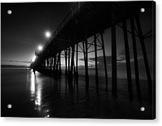 Pier Lights - Black And White Acrylic Print by Peter Tellone