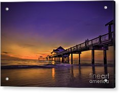 Pier Reflections Acrylic Print by Marvin Spates