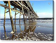 Pier Reflections Acrylic Print by Shelia Kempf