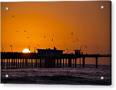 Pier Sunset Acrylic Print by Garry Gay