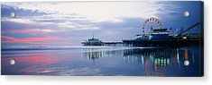 Pier With A Ferris Wheel, Santa Monica Acrylic Print by Panoramic Images