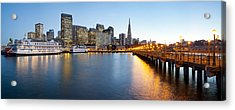 Pier With City At Sunset, Bay Bridge Acrylic Print