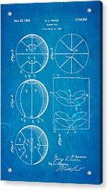 Pierce Basketball Patent Art 1929 Blueprint Acrylic Print by Ian Monk