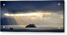 Piercing Through Darkness Light Shines On The Rock Acrylic Print