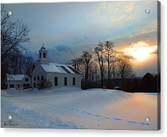 Piermont Church In Winter Light Acrylic Print by Nancy Griswold