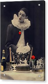 Pierrot Clown Vintage Art The Missing Candle Acrylic Print by Lesa Fine