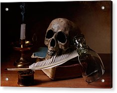Acrylic Print featuring the photograph Vanitas With Snuffed Candle And Writing Utensils by Levin Rodriguez
