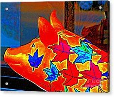 Pig Art Statuary Head Leaves Acrylic Print by Margaret Newcomb