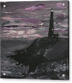 Acrylic Print featuring the painting Pigeon Lighthouse Impasto Sunset Monochromatic by Ian Donley