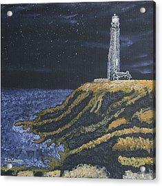 Acrylic Print featuring the painting Pigeon Lighthouse Night Scumbling Complementary Colors by Ian Donley