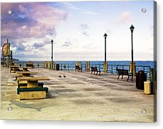 Pigeon Meeting At Redondo Pier Acrylic Print by Joseph Hollingsworth