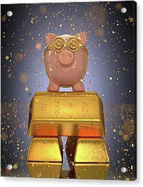 Piggy Bank On Gold Bullion Acrylic Print