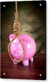 Piggybank And Noose Acrylic Print by Joe Belanger