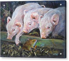 Acrylic Print featuring the painting Pigs Vs Mouse by Jieming Wang