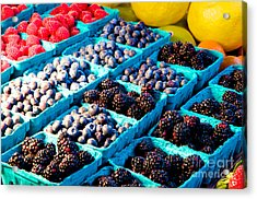 Acrylic Print featuring the photograph Pike Place Blacks N' Blues by Vinnie Oakes