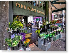 Pike Place Flowers Acrylic Print by Spencer McDonald