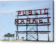Pike Place Market Acrylic Print by Linda Woods
