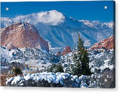 Pikes Peak In Winter Acrylic Print by John Hoffman